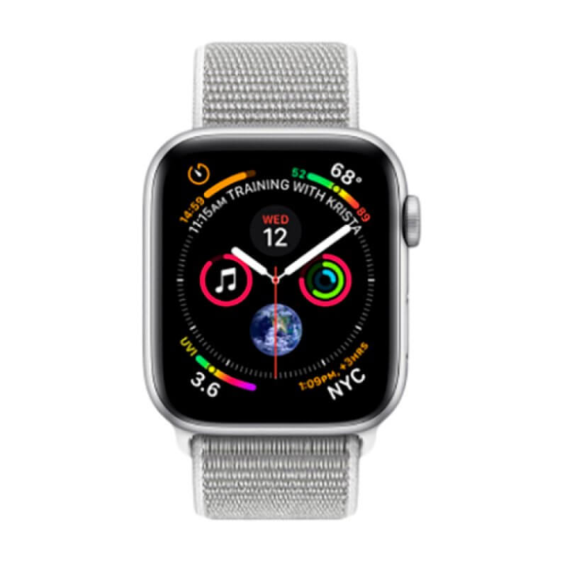 Apple Watch S4 44mm GPS Silver Aluminium Case Seashell Sport Loop