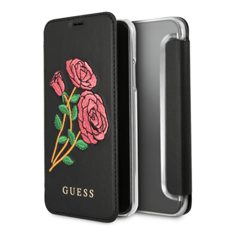 Flip cover Guess Flower Desire iPhone X | Xs - Preto
