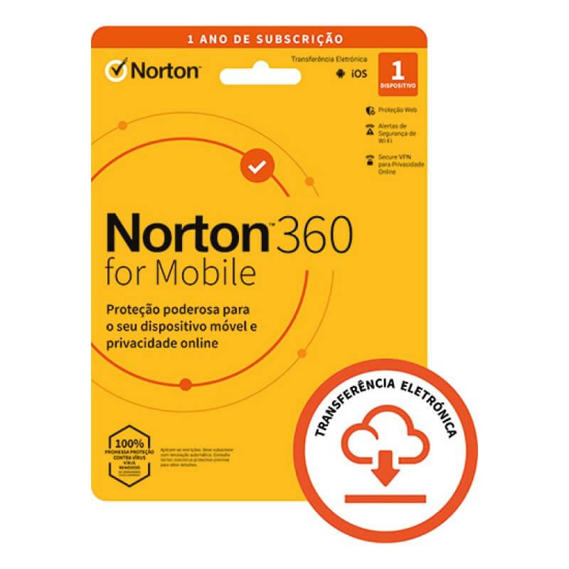 Antivírus Norton 360 para Mobile 2021   1 Dispositivo   1 Ano   VPN e Password Manager   Android/IOS