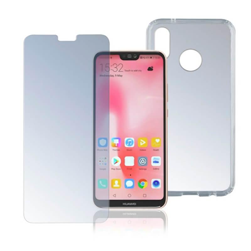 Vidro temperado + Capa Huawei P20 Lite - Transparente