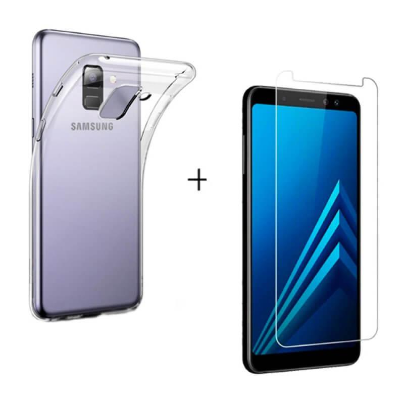 Vidro Temperado + Capa Samsung A8 A530 2018 Transparente