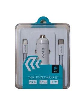 Carregador Isqueiro Smart Devia PD 18W 2X Porta USB + Cabo Lightning Branco