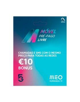Cartão MEO 5G Pré-pago (s/ carregamentos obrigatórios) 2,5€ Inicial + 2x5€