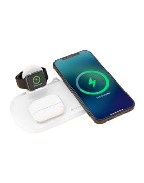 Carregador Secretária Wireless Devia 3/1 para Smartphone, Smartwatch e Earphone