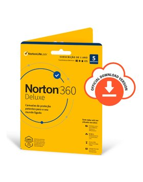 Antivírus Norton 360 Deluxe 2020 | 5 Dispositivos | 1 Ano | VPN e Password Manager | PC/Mac/Smartphones/Tablets
