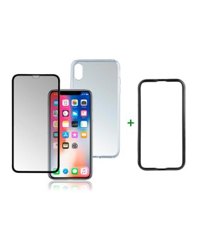 Vidro temperado + capa clear iPhone XS Max