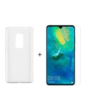 Vidro temperado + Capa Huawei Mate 20 -Transparente