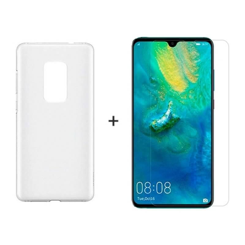 Vidro temperado + Capa Huawei Mate 20 - Transparente