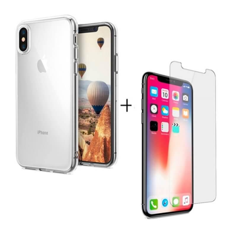 Vidro temperado + capa silicone iPhone X | Xs