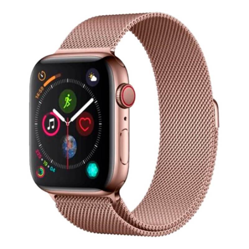 Bracelete Apple Watch 44mm Elegant Devia Milanese Loop - Rosa Dourado