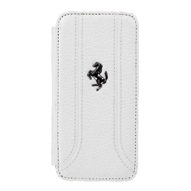 Flip Cover Ferrari iPhone 5 Branco - FEFFFLBKP5F