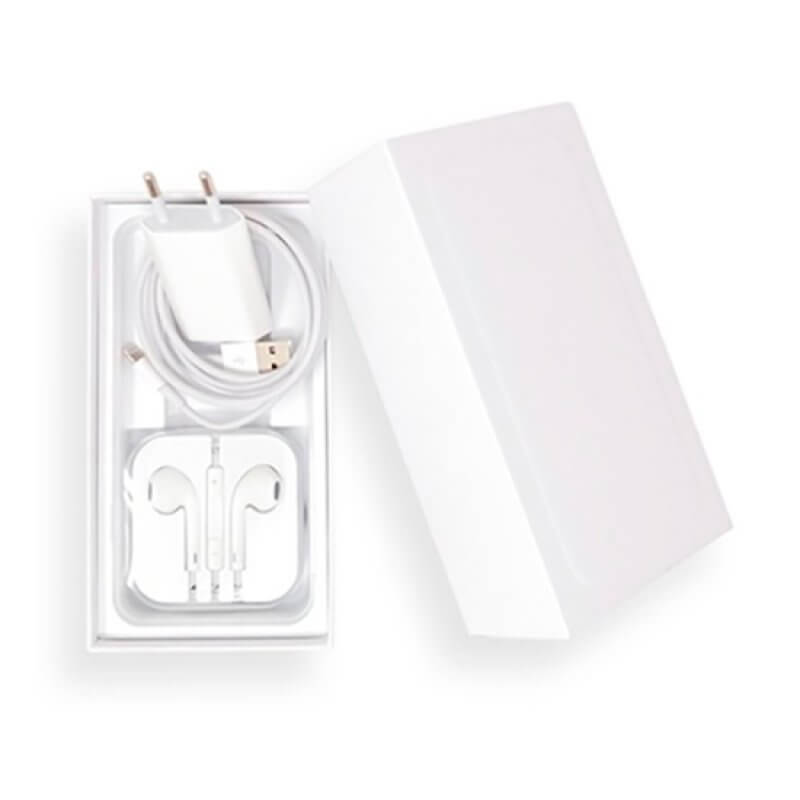 Caixa iPhone (Plus) + Cabo Dados + Carregador + Auricular Jack 3.5mm - Compatível