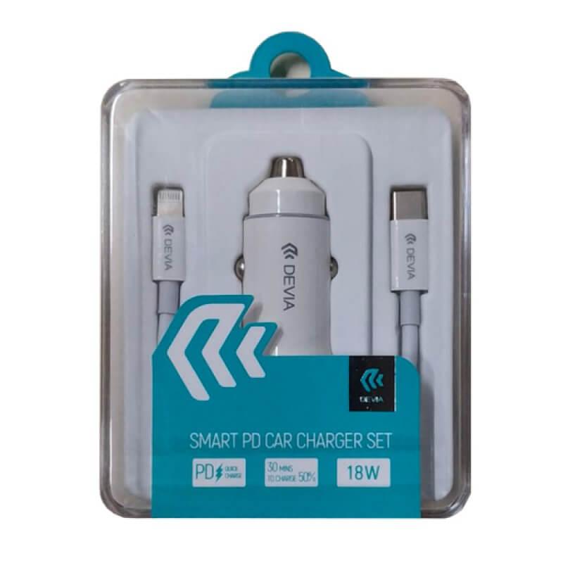 Carregador isqueiro Smart Series Devia PD 18W 2X USB - Branco (Inclui cabo)