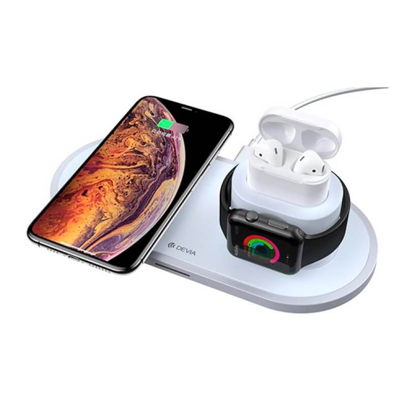 Carregador Wireless 18W Devia Smartphone/Watch/Earphones - Branco